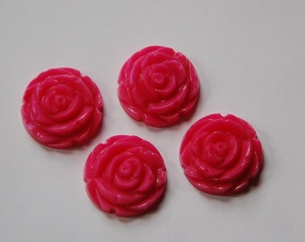 Bright Pink Etched Flower Cabochon 20mm cab466