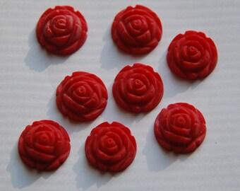 Vintage Style Matte Red Rosebud Flower Cabochons 15mm cab464H