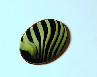 Vintage Lime Green and Purple Striped Zebra Cabochon 40mm x 30mm cab522