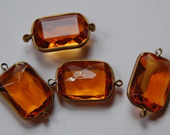 2 Loop Brass Channel Set Faceted Topaz Acrylic Charms chr164A