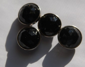 Black Round Faceted Lucite Channel Set Beads Japan bds994E