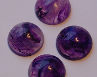 Vintage Purple and White Swirled Cabochons 18mm cab391E