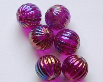 Vintage West German AB Amethyst Purple Melon Beads 14mm bds799E