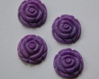 Matte Purple Etched Flower Cabochon 20mm cab466L