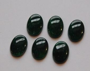 Vintage Jade Green Glass Cabochons 14x10mm cab080