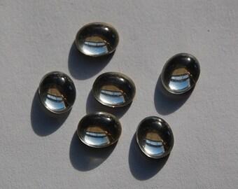 Clear Glass Cabochons 12mm x 10mm cab709E