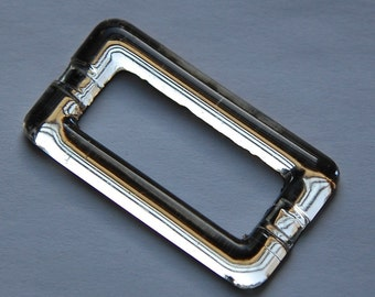 Vintage Clear Glass Rectangle Buckle Connector Cabochon cab095C