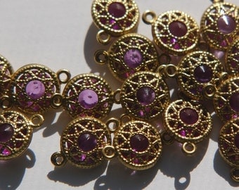 Vintage Amethyst Purple Connector Beads with Neat Brass Frames 10mm (6) chr137B