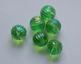 Vintage West German AB Green Pleated Melon Beads14mm bds799A