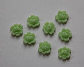 Vintage Style Green Rose Flower Cabochon 11mm cab350E
