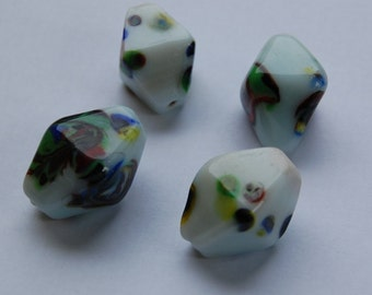 Chunky Vintage White Multi Color Bicone Focal Beads bds770A