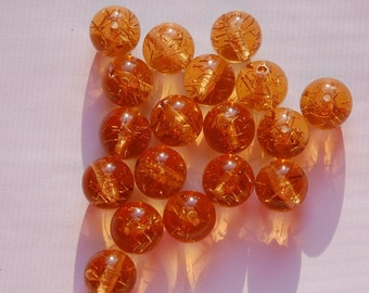 Vintage Amber Colored Lucite Confetti Beads 13mm bds874B