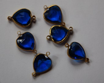 Brass Channel Set Faceted Blue Heart Acrylic Charms chr166