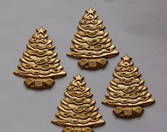 Raw Brass Christmas Tree Stampings mtl223