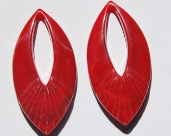 Vintage Red Marbled LuciteTeardrop Pendant Drops Italy 50x24mm (2) pnd019A