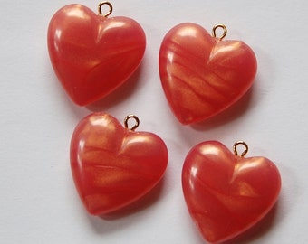 Vintage Peach Rose Pearl Acrylic Heart Charms Pendants chr175
