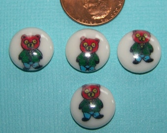 Vintage Glass Bear In Suit Cabs Comic Cabochons cab043