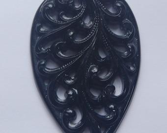 Vintage Large Black Filigree Pendant pnd052