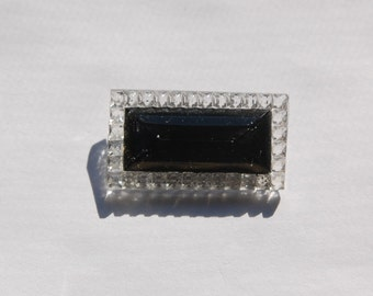 Black and Crystal Rectangle Faceted Glass Stone Cabochon cab413A
