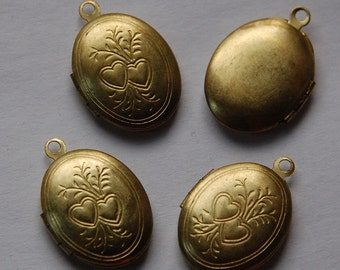 Vintage Raw Brass Oval Lockets Etched Hearts  lkt003B