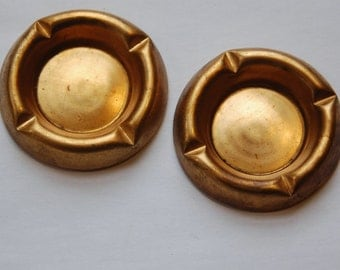 Vintage Raw Brass Deep Cabochon Setting Cup 22mm (4) mtl332