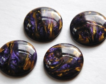 Vintage Purple with Gold Metallic Cabochons 25mm cab741A