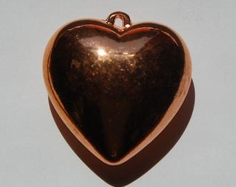 Vintage Puffy Copper Heart Pendant pnd062