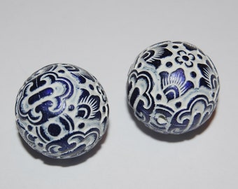 Vintage Carved Lucite Blue and White Carved  Focal Beads 20MM bds049B