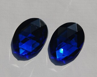 Faceted Blue Acrylic Flat Back Cabochons 40x30mm cab787B