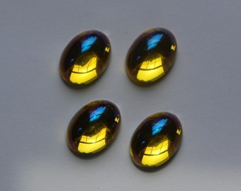 Vintage West German AB Jonquil Domed Cabochons 18mm x 13mm cab402A
