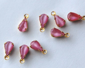 Vintage Rose Pink Moonglow Teardrop Stones in 1 Loop Brass Setting 8mm x 4mm par001