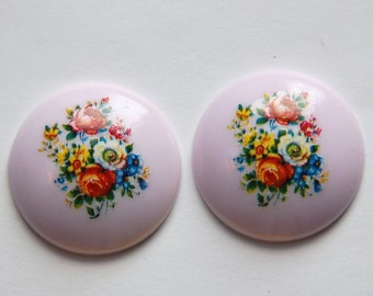 Vintage Lilac Floral Domed Cabochons 28mm cab760L