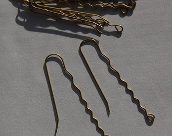 Raw Brass Wavy Very Long Ear Wires (12) fnd013C
