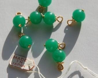Vintage Jade Green Glass Bead Drops with 8mm Bead Cap Loop drp026A