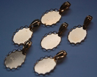 Raw Brass Lace Edge Settings with Bales 18mm x 13mm mtl280