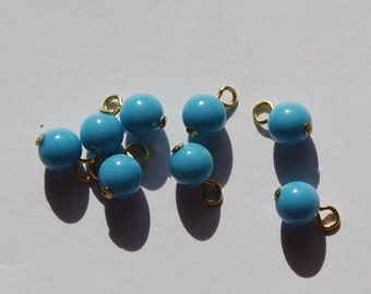Vintage Turquoise Blue Glass Drops Bead No Cap Loop drp022A