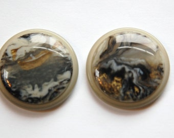 Vintage Black Grey and Cream Swirl 30mm Cabochons cab669