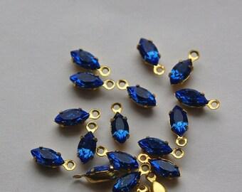 Sapphire Blue Navette Stones in 1 Loop Brass Setting 8mmx4mm (8) nav005