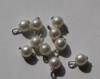 Vintage Pearl Drops Silver Loop 6mm drp010B