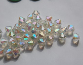 Vintage Lucite Crystal AB Faceted Bicone Beads bds956