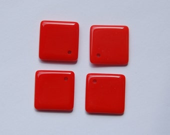 Vintage Red Glass Square Drops Pendants Japan chr096A