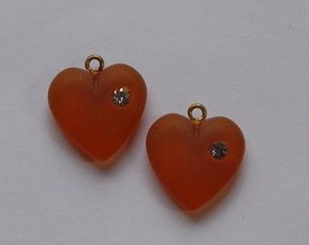 Vintage Matte Topaz Heart Charm with Rhinestone chr104A