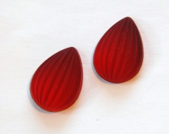 Matte Ruby Ribbed Melon Glass Pear Cabochons 18mm x 13mm cab450C