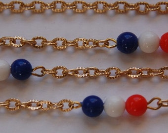 Vintage Red White Blue Plastic Beaded Chain Japan chn022
