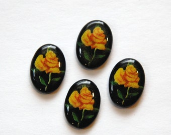 Vintage Yellow Rose Black Glass Cabochon Japan 14x10mm (4) cab425