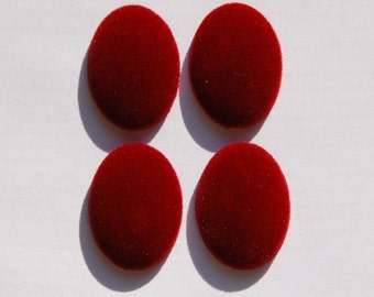 Vintage Red Velvet Velour Cabochons 30mm x 22mm cab434A