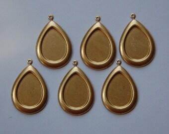 1 Loop Raw Brass Pear Teardrop Setting 18mmx13mm (6) stn019