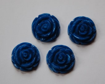 Blue Etched Flower Cabochon 20mm cab466C
