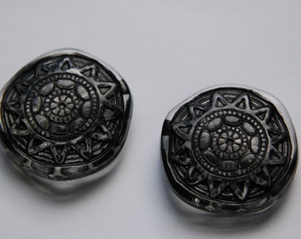 Crystal Jet Etched Wavy Aztec Sun Focal Beads bds829