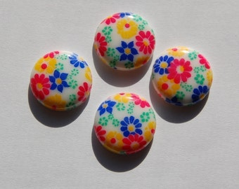 Vintage Festive Colors Floral Glass Cabochons 15mm cab284C